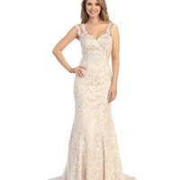 Ivory & Nude Floral Lace Cap Sleeve Gown Prom 2015