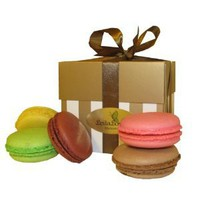 Leilalove Macaron 4 Quantities, 4 Flavors in Gold white Box(gluten free)