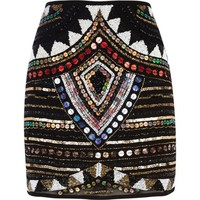 Black embellished mini skirt - mini skirts - skirts - women