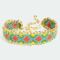 Friends Forever Gold and Green Woven Friendship Bracelet