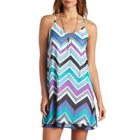 STRAPPY CHEVRON CHIFFON SHIFT DRESS