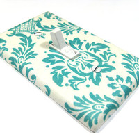 Teal Blue and White Damask Cottage Chic Home Decor by ModernSwitch