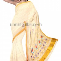 UNM7578-Lovely traditional milk cream handloom kerala kasavu tissue saree