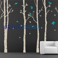 birch trees vinyl  wall decals birch tree decal art for living room birch tree decor