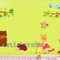 nursery animal decals Jungle Safari nursery wall decals kids animal wall decals for room decor