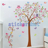 Nursery Tree Wall Decal with owl kids birds tree wall stickers owl tree wall decals removable Children Wall decor