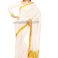 UNM7563-Stunning casual cream pure handloom Kerala kasavu cotton onam saree