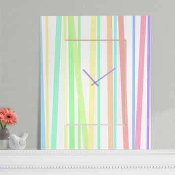 Lisa Argyropoulos Pastel Rainbow Stripes Rectangular Clock