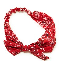 AEO Women's Bandana Printed Headwrap (Red)