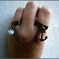 anchor double ring by alapopjewelry