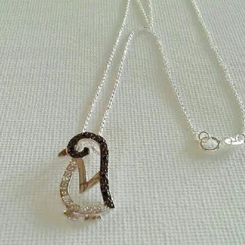 Sterling Penguin pendant necklace clear and black cz sterling silver chain necklace