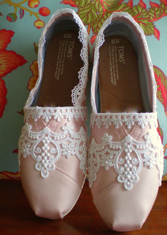Custom Pink Wedding Toms many colors by TheCrystalSlipper on Etsy