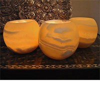 Costco - Egyptian Alabaster Votive   4&quot; Globe - Set of Three