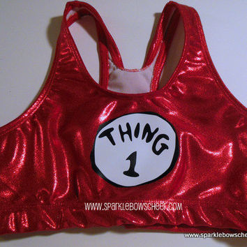 Thing 1  Metallic Sports Bra Cheerleading