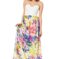 The Pleather Maxi in White Floral