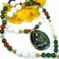 Buddha Green Pendant Necklace Floral Shell Beads Carnelian Jade Silver | PrettyGonzo - Jewelry on ArtFire