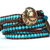 Bronze and Turquoise leather wrap bracelet by Lobsterpirate