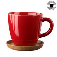 Apple Red Coffee Mug With Wooden Saucer - Designer Stoneware Coffee Cup
