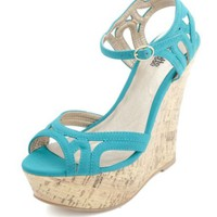 STRAPPY CUT-OUT PEEP TOE WEDGE SANDALS