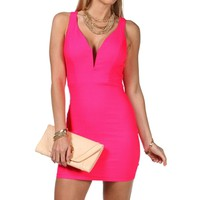 Sleeveless Plunging Dress