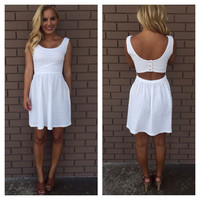 White Naughty or Nice Open Back Dress