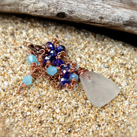 Sea Glass Anklet Hawaiian Jewelry by Mermaid Tears boho jewelry bohemian ankle bracelet gypsy jewelry copper seaglass wire wrap anklet