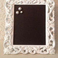 CHALKBOARD Magnetic Frame White Baroque Inspired -  8 X 10 -  Message Board - Elegant -  Magnet -  Gift -  Shower Announcement - Wedding