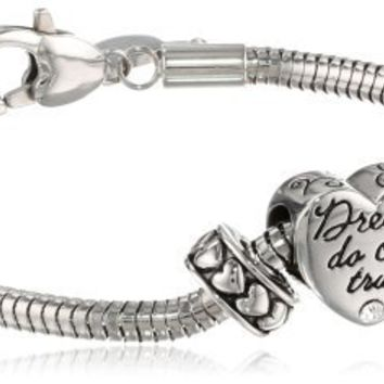 Disney Beads Stainless Steel Starter Bracelet with Bead Charm and 2 Stoppers