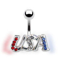 14g Surgical Steel Red Clear and Blue Gem Usa Non Dangle Belly Button Ring Navel Body Jewelry Piercing with Curved Barbell 14 Gauge
