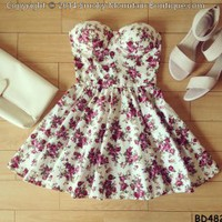 Dianne Floral Bustier Dress with Adjustable Straps - Size XS/S/M BD 482 - Smoky Mountain Boutique