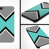 iPhone 5 Case iPhone 5s Geometric Teal Tribal Aztec Pattern Men Guys iPhone Case Gift Made in the USA Protective Plastic Hard Cover VM-1100