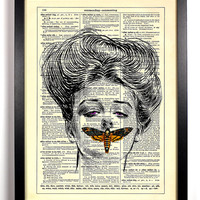 Keeping Secrets Dead Head Moth Repurposed Book Upcycled Dictionary Art Vintage Book Print Recycled Vintage Dictionary Page Buy 2 Get 1 FREE