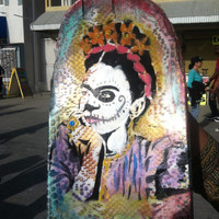 HAND PAINTED Frida Kahlo Thinking Day of the Dead Broken Skateboard Art