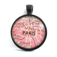 Paris France Pendant from Vintage Map in by CarpeDiemHandmade