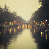 Canal and Bridge at Night, Amsterdam Print, Travel Photography, Lights, River Water, Harvest Gold Yellow Brown - Nocturne