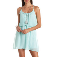 RACERBACK FLOUNCE CHIFFON DRESS