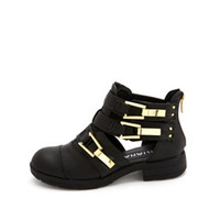 CUTOUT TRIPLE BUCKLE ANKLE BOOTIE