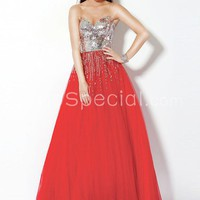 Luxury Sweetheart Sequined Ball Gown Tulle Evening Dress-SinoSpecial.com