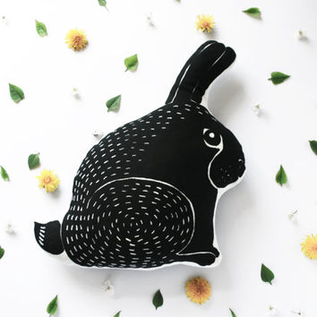 cute screen printed rabbit pillow children toy filled with natural dried grass and wild flowers