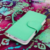 MPERO FLEX FLIP Wallet Case for Apple iPhone 4 / 4S - Mint / White