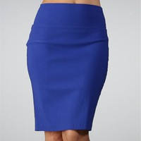 Royal Blue Basic Secretary Pencil Skirt