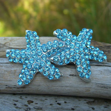 Starfish Hair Clip or Barrette-AQUA CRYSTAL-Beach Wedding, Starfish Hair, Bridal Hair Clip, Nautical, Destination Wedding, Something Blue