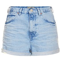 Topshop Moto 'Rosa' High Rise Denim Shorts (Blue)