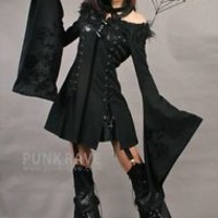 Gothic Punk rock black strapless halter visual kei jacket dress S M L free ship