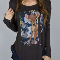 Junk Food Clothing - Bambi Long Sleeve Tee - Disney - Collections - Womens