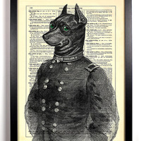 Sergeant Dog Upcycled Dictionary Art Vintage Book Print Recycled Vintage Dictionary Page Buy 2 Get 1 FREE