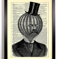 Air Head, Hot Air Balloon Gentleman Upcycled Dictionary Art Vintage Book Print Recycled Vintage Dictionary Page Buy 2 Get 1 FREE