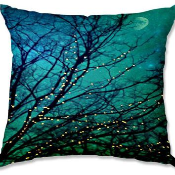 Decorative Smooth Woven Linen Couch Throw Pillow from DiaNoche Designs by Sylvia Cook Unique Bedroom, Living Room and Bathroom Ideas - Magical Night