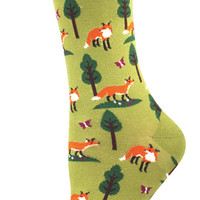 Women's Foxes Comfortable Crew Novelty Socks - Nylon/Cotton/Lycra