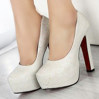 Wholesale Shining snake thick heel shallow mouth high heel shoes SY-C0125 light gray - Lovely Fashion
